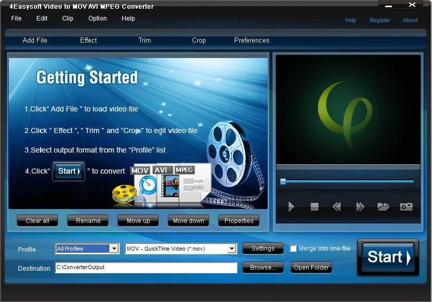 Click to view 4Easysoft MOV AVI MPEG Converter 3.1.18 screenshot