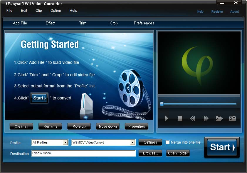 Convert all mainstream video to Wii video (MOV, AVI), extract audio from video.