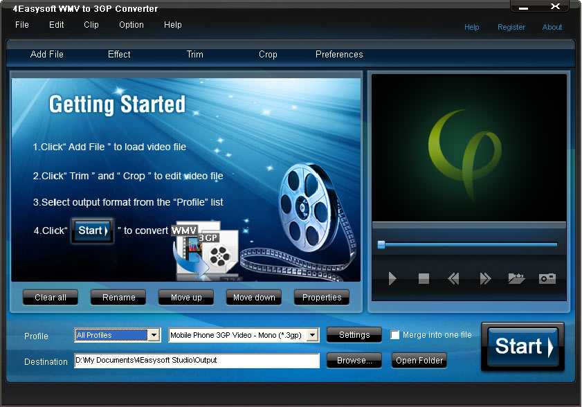 Click to view 4Easysoft WMV to 3GP Converter screenshots