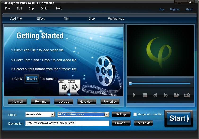 Click to view 4Easysoft WMV to MP4 Converter screenshots