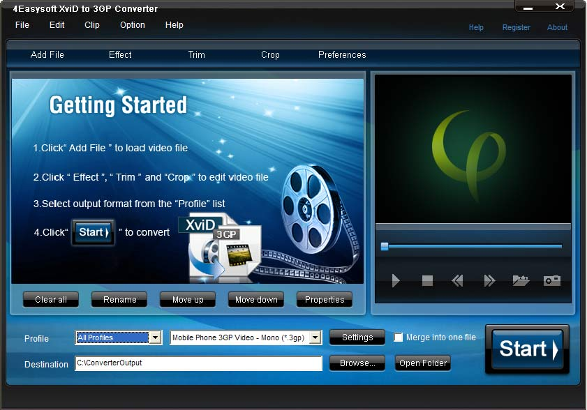 Click to view 4Easysoft XviD to 3GP Converter screenshots