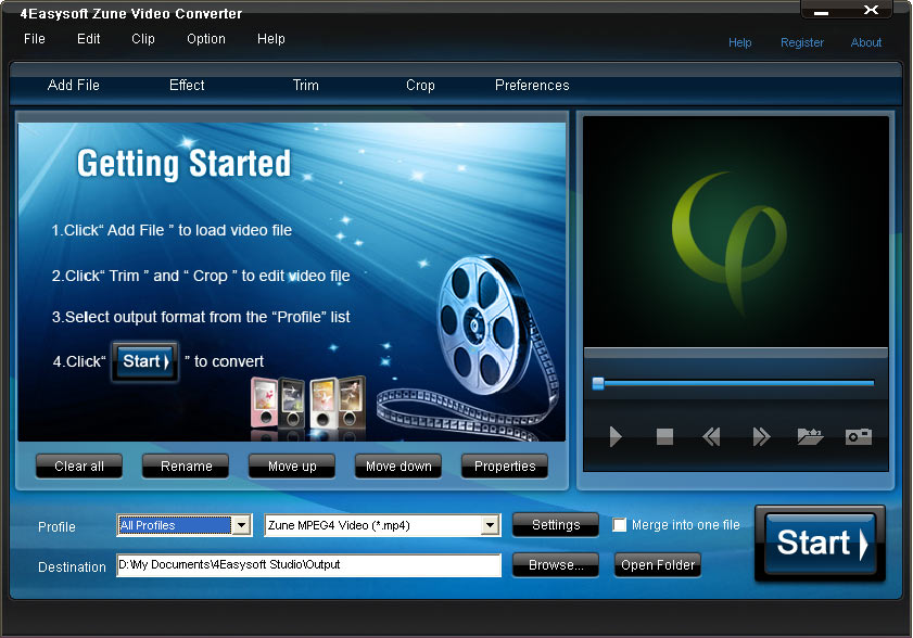 Click to view 4Easysoft Zune Video Converter 3.1.22 screenshot