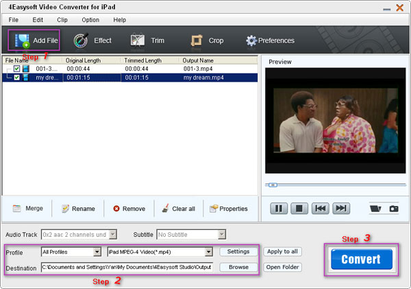 Video Converter for iPad steps