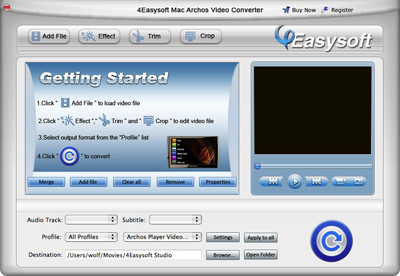 Help document of Mac Archos Video Converter