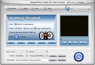 Help document of Mac Creative Zen Video Converter