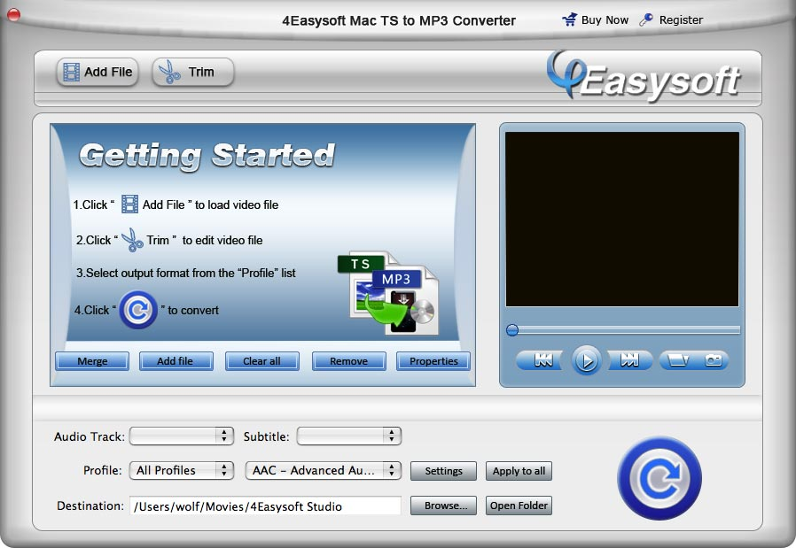 Both powerful and easy-to-use TS to MP3 Mac.