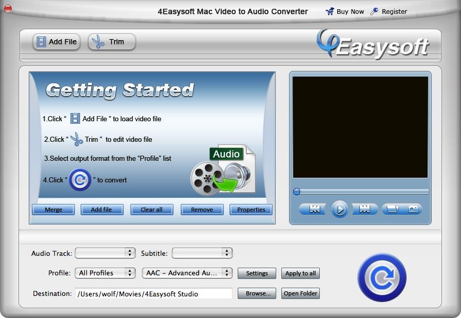 4Easysoft Mac Video to Audio Converter Screen shot