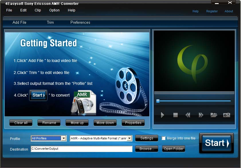 Click to view 4Easysoft Sony Ericsson AMR Converter 3.1.18 screenshot